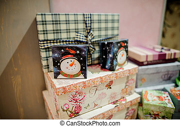 Set of cute boxes with Christmas gifts