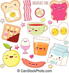 Set of cute breakfast food icons in kawaii style