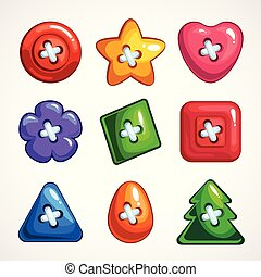 Set of cute bright colorful vector buttons for sewing