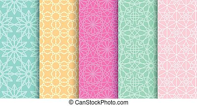 Set of cute bright seamless patterns. Abstract geometric background