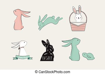 set of cute bunnies. vector illustration