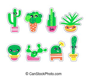 Set of cute cactuses stickers in kawaii style.