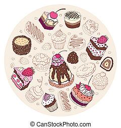 Set of cute cake.