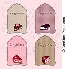 Set of Cute Cake Tags for design