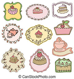 Set of Cute Cake Tags - for design or scrapbook - in vector