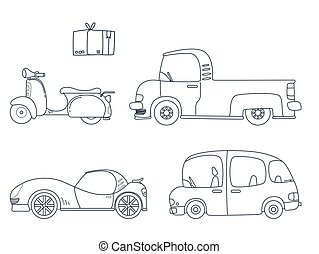 Set of cute car coloring page illustration for kids