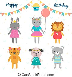 Set of cute cartoon animals for Happy birthday design