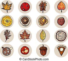 Set of cute cartoon autumn elements. Isolated logo graphic symbols. Mushrooms, acorn, apple pumpkin pie