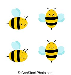 Set of cute cartoon bees. Funny happy bee characters for kids