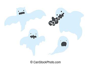 Set of cute cartoon blue vector ghosts