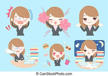 cartoon business woman - Set of cute cartoon business woman...