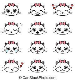 Set of cute cartoon cat emoticons