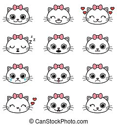 Set of cute cartoon cat emoticons
