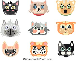 Set of cute cartoon cats heads. Colorful character vector Illustrations
