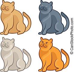 Set of cute cartoon cats. Vector illustration