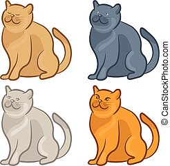 Set of cute cartoon cats. Vector illustration