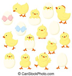 Set of cute cartoon chicken in various poses