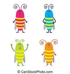 Set of cute cartoon cockroach
