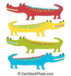 Set of cute cartoon crocodiles