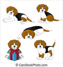 Set of cute cartoon dogs, beagle