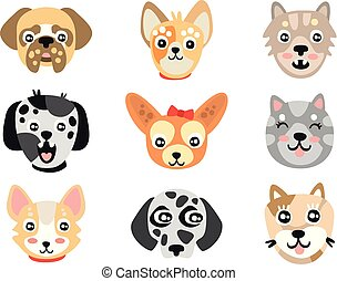Set of cute cartoon dogs heads. Colorful character vector Illustrations