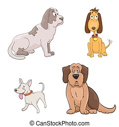 set of cute cartoon dogs. vector