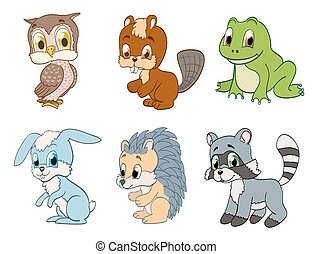 set of cute cartoon forest animals. vector