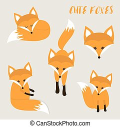 Set of cute cartoon foxes
