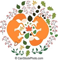 Set of cute cartoon foxes in modern simple flat style
