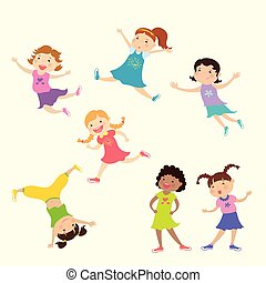 Set of cute cartoon girl,different action poses