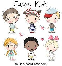 Cute cartoon girls and boys
