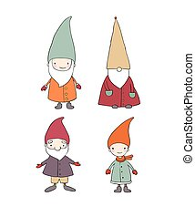 Set of cute cartoon gnomes. Funny elves. isolated objects on white background.