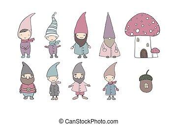 Set of cute cartoon gnomes.