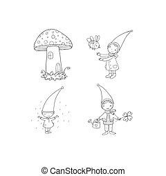 Set of cute cartoon gnomes. Vector illustration.