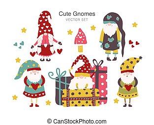 Set of Cute Cartoon Gnomes. Vector.