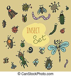 Set of cute cartoon insect.