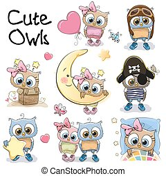 Set of Cute Cartoon Owls