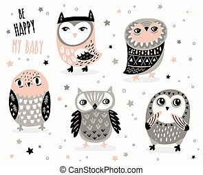 Set of cute cartoon owls with ethnic ornament