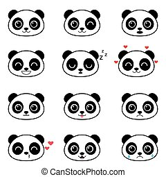 Set of cute cartoon panda emotions
