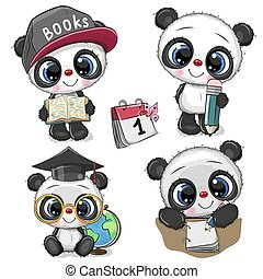 Cute Cartoon Pandas isolated on a white background