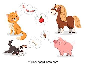 Set of cute cartoon pets