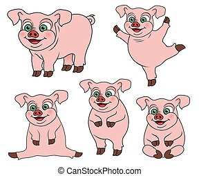 Set of cute cartoon pig on various positions