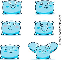 Set of cute cartoon pillows. I Hand drawing isolated objects on white background. Vector illustration.