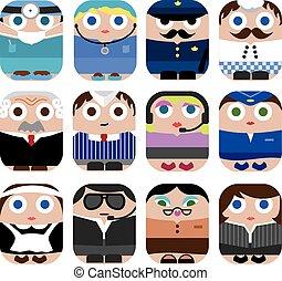 Set of cute cartoon profession icon