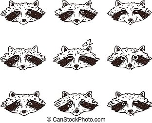 Set of cute cartoon racoons with various emotions. Vector illustration