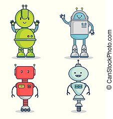 set of cute cartoon robots technology