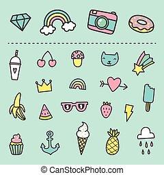 Set of cute cartoon stickers.