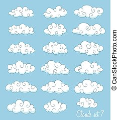 set of cute cartoon white clouds with swirls. vector