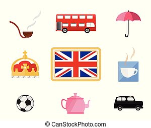 Set of cute cartoons related to London and England