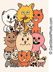 set of cute cat cartoon